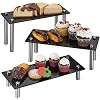 """ZAFUU 3 Tier Rectangle Tempered Glass Retail Display Stand 6 x 14"""" for Cupcakes, Dessert, Bags, Perfume - Set of 3 Glass Display Raisers."""