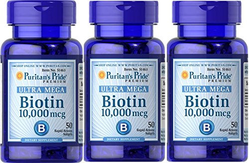 Ultra Mega Biotin 10,000 mcg 100 softgels (3-Bottle Pack = 300 softgels)