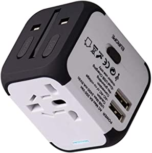 UPPEL Travel Adapter with Dual USB All-in-one Worldwide Travel Chargers Adapters for US EU UK AU About 152 Countries Universal Power Plug Adapter Charger with Dual USB and Safety Fuse (White)