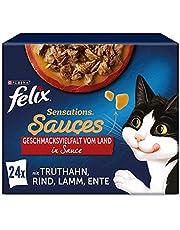 FELIX Sensations sauzen kattenvoer nat, rassenmix, verpakking van 4 (4 x 24 zakjes à 85 g)