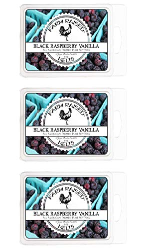 Farm Raspberry - Black Raspberry Vanilla 3 Pack 18 Cubes Premium Scented Soy Flameless Wax Melts 100% Natural American Farmed Soy Wax. Premium Fragrance Oils, Smokeless Candles, Vegan Friendly