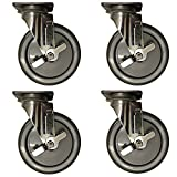Service Caster – 6'' Non-Marking Gray Polyurethane Wheel – 4 Stainless Steel Swivel Casters w/Brakes – Set of 4