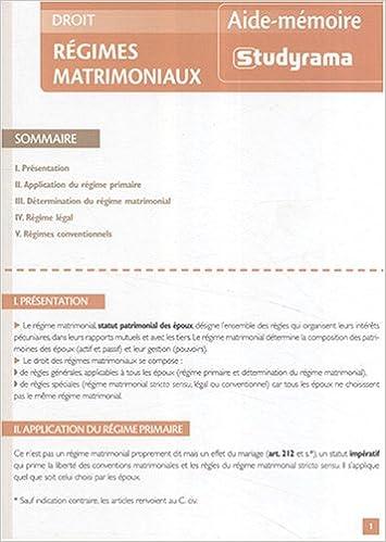 En ligne téléchargement gratuit Régimes matrimoniaux pdf, epub ebook