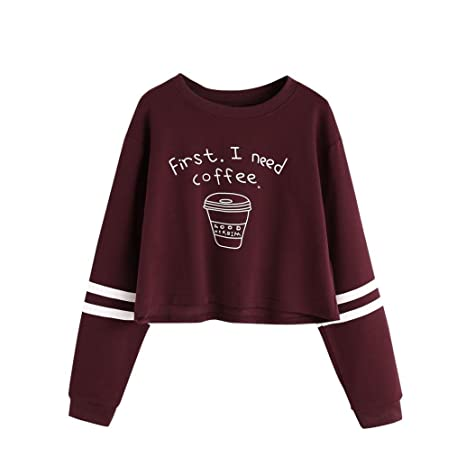 LuckyGirls Mujer Camisetas Manga Larga Carta Impresión Rayas Moda Corto Tops Blusa Sudaderas Camisas (S