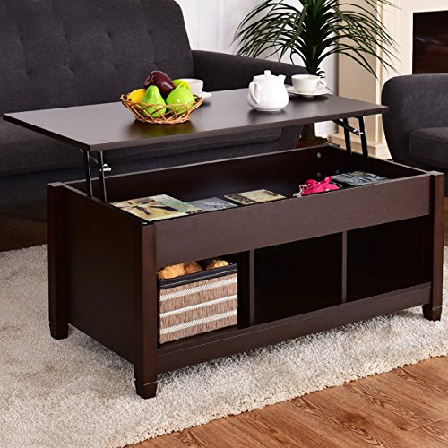 Best Quality Low Coffee Table With Hidden Lift Top and Lower Storage Compartment For Contemporary Home And Living Room (1, Dark - Roundglasses
