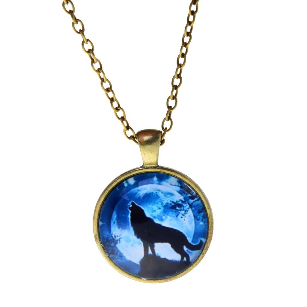 Punk Cool Women Men Shiny Wolf Glass Charm Pendant Necklace jewelry Generic STK0156008547