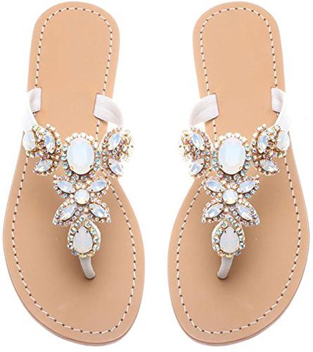 ls for Women Jeweled Sandals Flip Flops White Bride Size 8.5 (White Flip Flops Rhinestones)