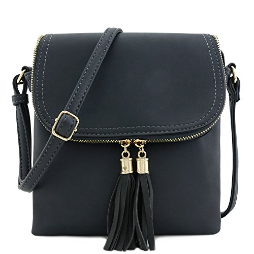 - Flap Top Double Compartment Crossbody Bag with Tassel Accent (Charcoal Grey)