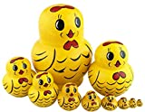 Winterworm Perfect Mother's Day Gift 10pcs Cutie Lovely Cartoon Vivid Animal Nesting Dolls Matryoshka Russian Doll Popular Handmade Hand-paint Kids Girl Gifts Christmas HolidayToy (Yellow Chicken)