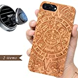 iProductsUS Totem Wood Phone Case Compatible with iPhone 8 Plus,7 Plus, 6 Plus, 6s Plus and Magnetic Mount - Engraving Mayan Calendar Cases,Built-in Metal Plate,TPU Shockproof Protective Cover (5.5')