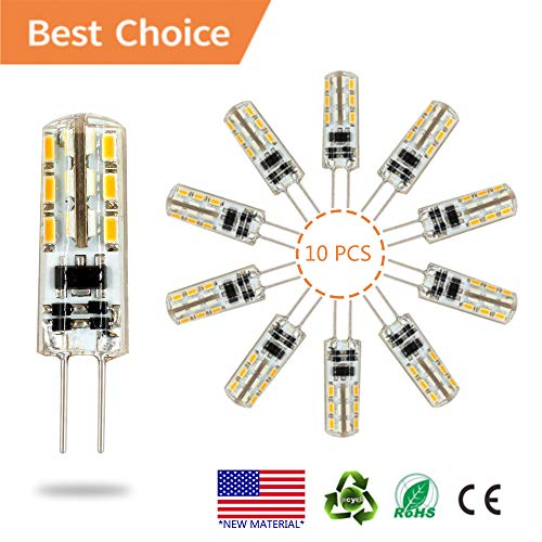G4 LED Bulb lamp 10PCS, Akindoo 1.5 Watt AC DC 12V Equivalent to 10W T3 Halogen Track Bulb Replacement 360° Beam Angle Non-dimmable (Warm White - 1.5w Led