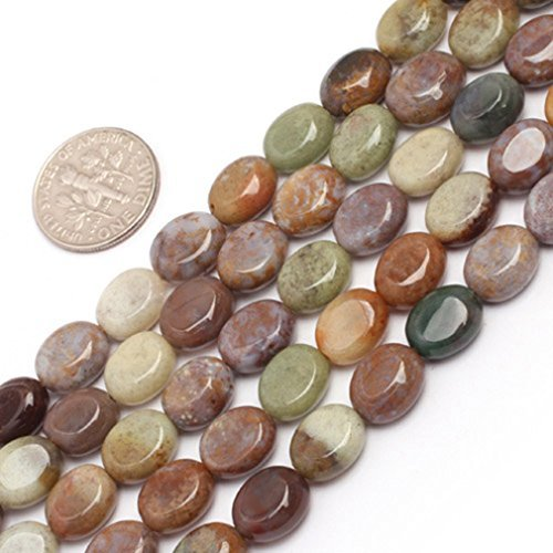 (8x10mm Oval Gemstone Indian Agate Beads Strand 15 Inch Jewelry Making Beads)