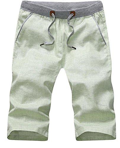 Plaid&Plain Men's Slim Fit Elastic Waist Drawstring Linen Shorts LightGreen XS