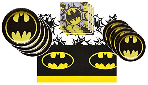 Batman Party Supplies Tableware Bundle Pack for 16 Guests - Includes 16 Dinner Plates, 16 Dessert Plates, 16 Dinner Napkins, and 1 Tablecover]()