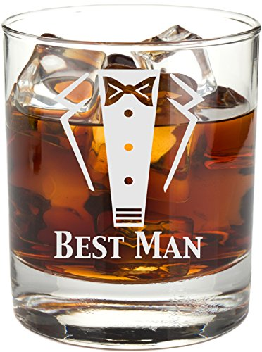 Engraved Tuxedo 11 oz Wedding Party Rocks Glass - Will You Be My? Whiskey Glass (Best Man) by Frederick Engraving