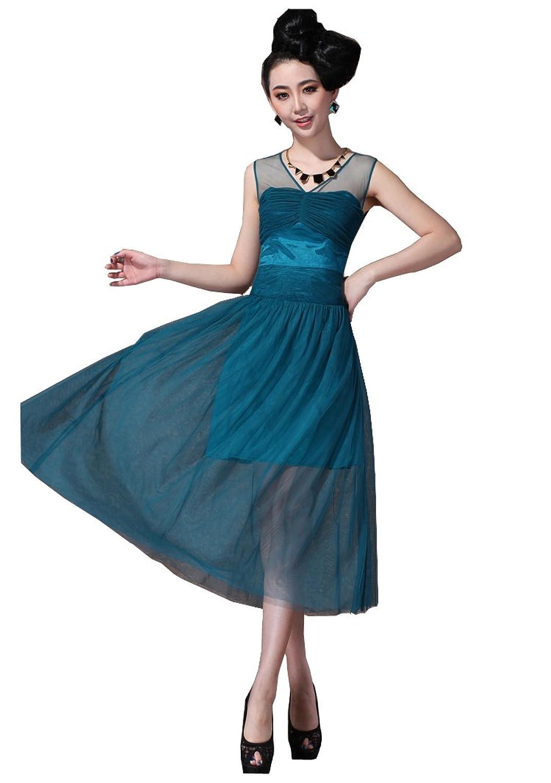 Colorfulworldstore Europe fashion lady evening dress party dress-Transparent gauze lace V-neck&Sleeveless dress