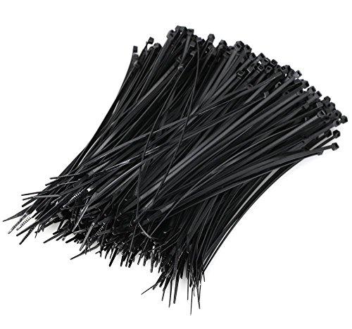 Yaheetech Cable Zip Ties 8'' Heavy Duty 200mm x 2mm Multi-Purpose, Large Pack of Black Nylon Wire Zip Ties by Strong Ties. 50Lbs - 1000 PACK