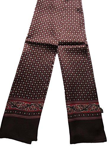 100% Silk Double Layer Men Scarf Neckerchief (Diamonds brown) ()