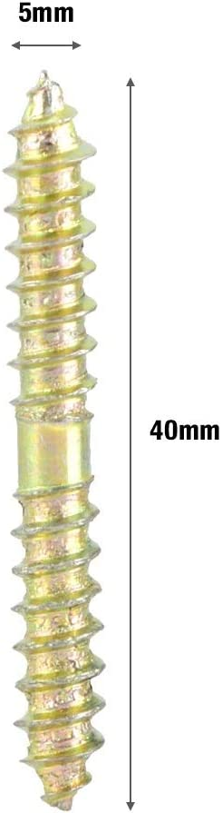 Vis /À Double Extr/émit/é 20 Pi/èces Boulons Filet/és Autotaraudeurs Bois /À Bois De 5 * 40 Mm Connexions Dattache De Connecteur De Meuble For Armoires Vis /À T/ête Cylindrique