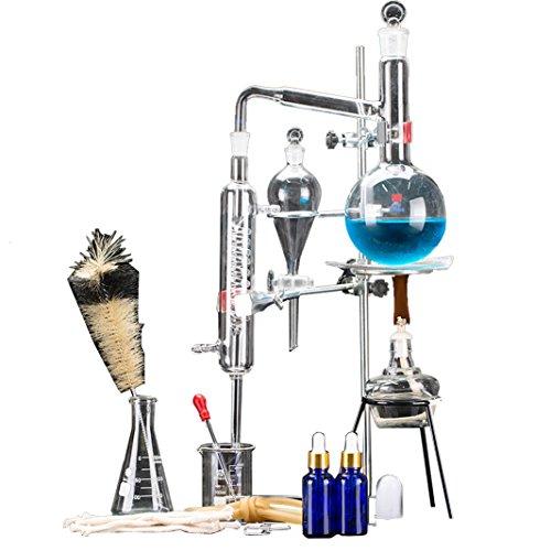 24pcs New 500ml Lab Essential Oil Distillation Apparatus Water Distiller Purifier Glassware Kits w/Separatory Funnel Condenser Pipe