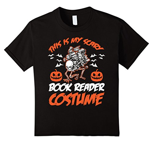 Book Nerd Costume (Kids This Is My Scary Book Reader Costume Halloween T-Shirt 6 Black)