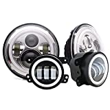 1990 toyota camry headlight - DOT Approved 7inch Round chrome Jeep Wrangler Projector Angel Eye LED headlights With DRL Amber Turn Singal Hi/Lo Beam + 4