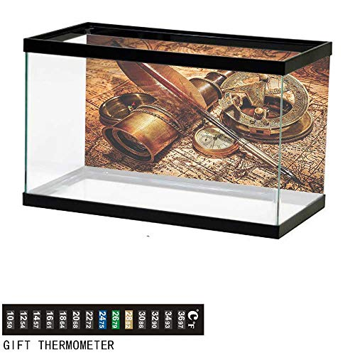 - bybyhome Fish Tank Backdrop Antique,Compass Goose Quill Pen,Aquarium Background,72