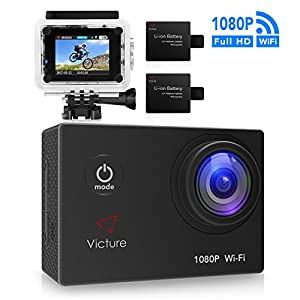 Victure WIFI Action Camera 14MP 1080P Waterproof Sports Cam 30M Underwater Diving Camera with 2 Inch LCD Screen, 170° Wide Angle Lens and 2 Pcs Rechargeable Batteries