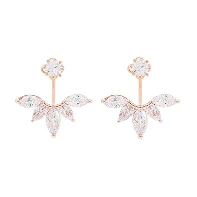 c9749f8ad Amazon.com: megko 925 Sterling Silver Cubic Zirconia Earrings Leaf Feather  Ear Jacket Front Back Ear Cuffs Stud Earring (rose gold): Jewelry