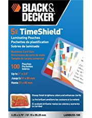 BLACK + DECKER TimeShield Thermal Laminating Pouches, Business Card, 5 mil - 100 Pack (LAMBUS5-100)