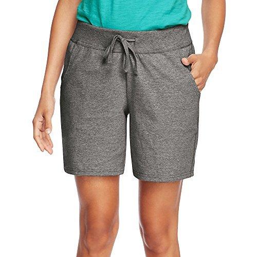 Hanes Womens Jersey Pocket Short O9264_Charcoal Heather_2XL