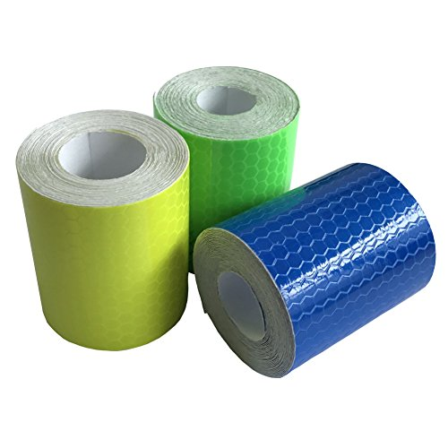 Viewm Reflective Tape 3 Rolls Safety Strips Warning Films 3m × 5cm / 3.28 yard × 2 inch Per Roll (Blue Yellow Green) - Blue Mailbox Reflector