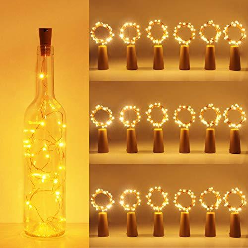 luz de Botella, Kolpop luz Corcho, luces led para Botellas de Vino 2m 20 LED a Pilas Decorativas Cobre Luz para Romántico Boda, Navidad, Fiesta, Hogar, Exterior, Jardín,Blanco Cálido (18 pack)