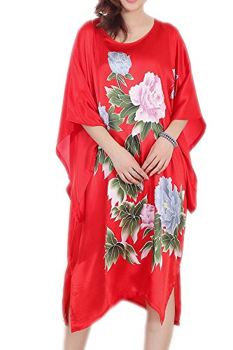 (pamor Womens Chinese Floral Butterfly Peacock Opera Patterns Print Loose Housedress Nightgown Nightie (Peony red 3))
