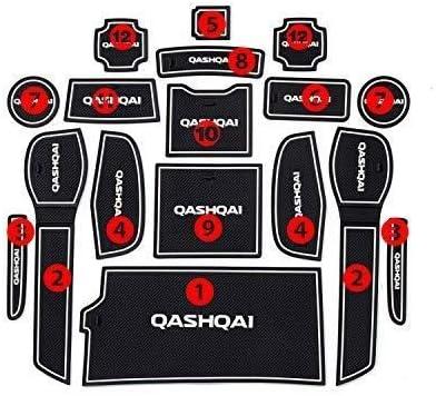 Interieur Zubeh/ör T/ür Slot Pad Mittelkonsole Lagerung Gummi Nicht Beleg-Matte Anti-Rutsch-Auto-Innent/ür-Slot-Pad Farbe : Red Automatten Kompatibel mit Nissan Qashqai 2019