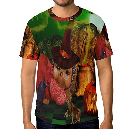 Halloween Crow Frog Cat Wallpaper Men's T Shirt Cool 3D Printed Graphic Crewneck Tee Shirts Sleeve Tops L