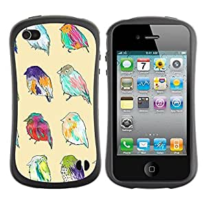 "Hypernova Slim Fit Dual Barniz Protector Caso Case Funda Para Apple iPhone 4 / iPhone 4S [Patrón Primavera Pascua Ornitología Amarillo""]"