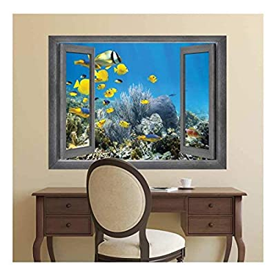 Stunning Technique, Open Window Creative Wall Decor A Swimming School of Yellow Fish Wall Mural, Quality Creation