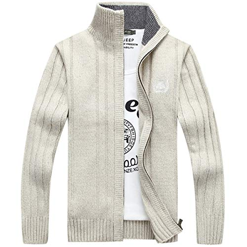 ELEFINE Men's Casual Slim Zip Knitted Cardigan Sweaters Jacket with Pockets Beige L