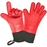 Unov Oven Gloves Silicone Heat Resistant (Up to 480°F) Cotton Lining Long Cuff Kitchen Barbecue Shredding Meat BBQ Grilling Mitts(Red)
