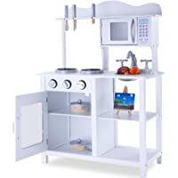 Rovo Kids Wooden Toy Kitchen with 10 Piece Accessory Set, White and Natural Wood