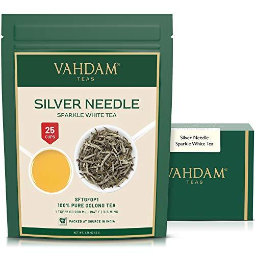 VAHDAM, hojas sueltas de te blanco con aguja de plata (25 tazas) | Te MAS SALUDABLE, 100% hojas de te blanco natural | Potentes anti-OXIDANTES, sin cafeina | Preparar como te helado caliente | 50gm