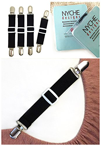 The Nyche Designs Adjustable Bed Sheet Fasteners Suspenders, Black, Set of 4 - Adjustable Bed Sheets