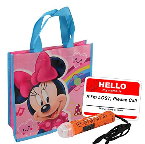 UPD Disney Minnie Mouse Girl's Resuable Small Sized Halloween Trick Treat Loot Bag!! Plus Bonus Safety First Sticker & Mini Halloween Flashlight Necklace!