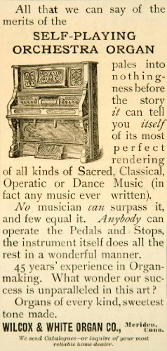 1891 Ad Wilcox White Organ Musical Instrument Orchestra Meridian CT Victorian - Original Print Ad (Victorian Organ)