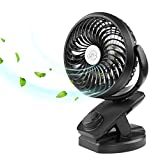 [2018 Newest Version]Rechargeable Clip on Fan, COMLIFE 4400mAh Battery/USB Powered Fan Mini Portable Personal USB Desk Fan for Baby Stroller, Car, Gym, Office, Outdoor, Travel, Camping