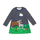 Toddler Baby Girls Kids Party Princess Dresses Cuekondy Fashion Horse Stripe Print Long Sleeve Skirt for 1-8 Years Old (6T, Navy 1)