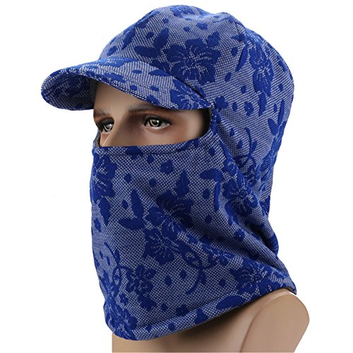 Runtlly Winter Windproof Cap Fleece Balaclava Hooded Face Mask Neck Warmer Ski Hood Snowboard Mask Wind Protector Ski Hat Blue