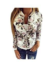 Gillberry Women Stretch Coat Long Sleeve Zip Print Classic Casual Outdoor Jacket