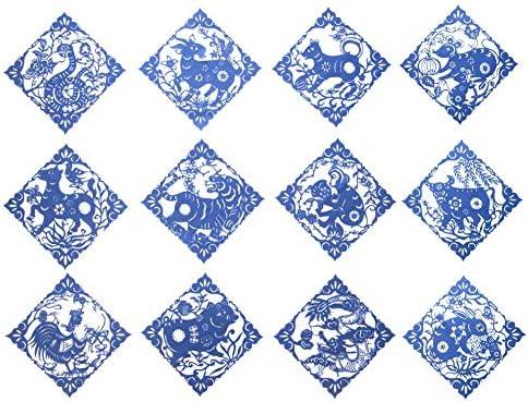 壁の装飾中国の芸術ペーパーカットアート中国の十二支の手工芸品